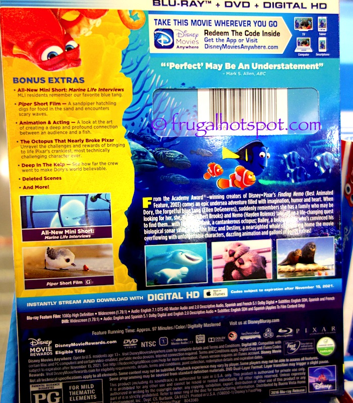 Disney Pixar Finding Dory Blu-ray + DVD + Digital HD | Costco | Frugal Hotspot
