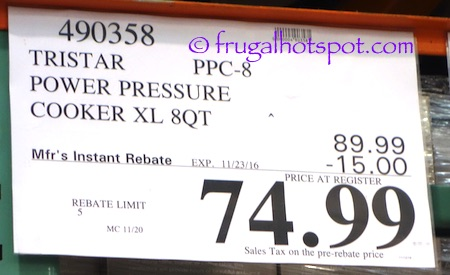 Tristar PPC-8 Power Pressure Cooker XL 8-Quart Costco Price | Frugal Hotspot