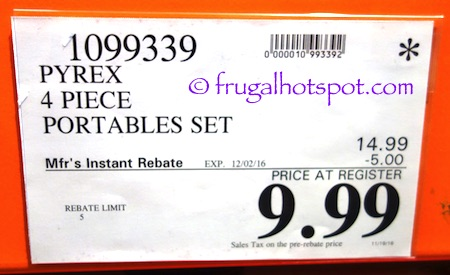 Pyrex Portables 4-Piece Set Costco Price | Frugal Hotspot