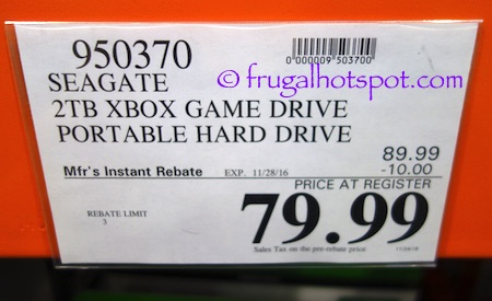 Seagate 2TB Xbox Game Drive Portable Hard Drive Costco Price | Frugal Hotspot