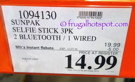 Sunpak Selfie Stick 3-Pack Costco Price | Frugal Hotspot