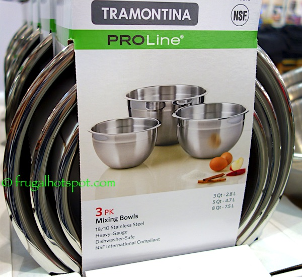 Tramontina PRO Line 3-Pack Mixing Bowls Stainless Steel Costco | Frugal Hotspot