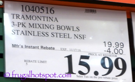 Tramontina PRO Line 3-Pack Mixing Bowls Stainless Steel Costco Price | Frugal Hotspot