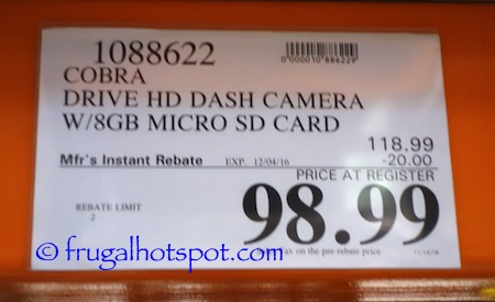 Cobra Drive HD Smartphone Enhanced Dash Cam Costco Price | Frugal Hotspot