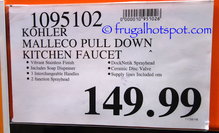 Kohler Malleco Pull Down Kitchen Faucet With Soap Dispenser In Vibrant Stainless Finish Costco Price Frugal Hotspot