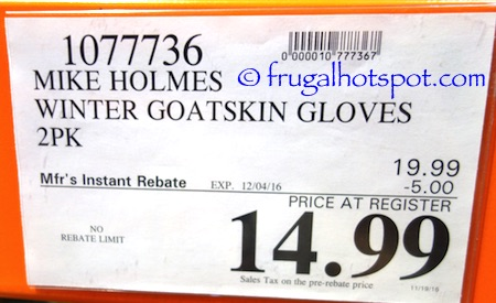 Mike Holmes Workwear Goatskin Winter Gloves 2-Pairs Costco Price | Frugal Hotspot