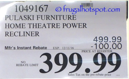 Pulaski Furniture Leather Home Theater Power Recliner Costco Price | Frugal Hotspot