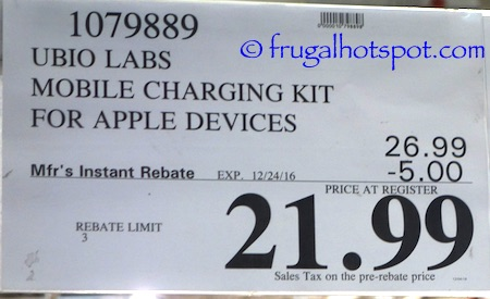 Ubio Labs Premium Mobile Charging Kit for Apple Device Costco | Frugal Hotspot