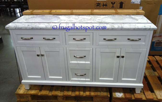 A Very Nice Feature Of This Charming Vanity Is The Hair Dryer Holder Located In Bottom Drawer Costco Has 60 Double Sink Wood White With