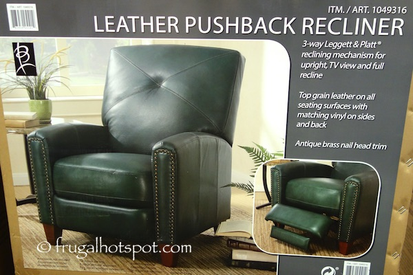 Top grain leather on all seating surfaces with matching vinyl on sides and back & Costco: Bainbridge Green Leather Pushback Recliner $499.99 ... islam-shia.org