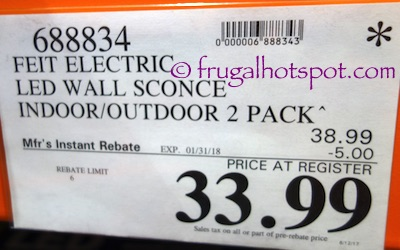 Costco Sale Feit Electric Led Wall Sconce 2 Pk 33 99