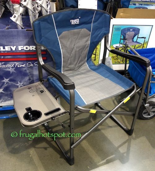 Sturdy aluminum frame u2022 Reflective trim material u2022 Side table with cup holder and slot for cell phone u2022 Weight capacity 300 lbs (136 kg) & Costco Sale: Timber Ridge Directoru0027s Chair $21.99 | Frugal Hotspot