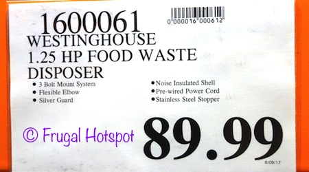 Costco Westinghouse 1 25 HP Food Waste Disposer $89 99