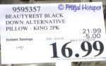 Costco Sale Price: Beautyrest Black Down Alternative Pillows 2-Pack King Size