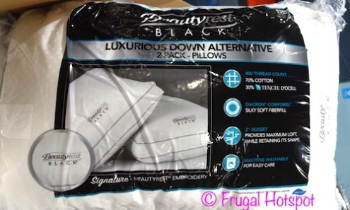 Beautyrest Black Down Alternative Pillows 2-Pack Jumbo Size at Costco