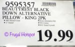 Costco Price: Beautyrest Black Down Alternative Pillows 2-Pack King Size