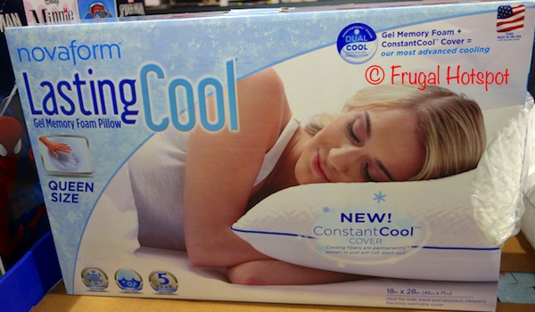 novaform gel pillow. washable constantcool cover (cooling fibers are permanently woven in for cool, refreshing comfort that never washes out) \u2022 cooling gel memory foam adapts to novaform pillow o