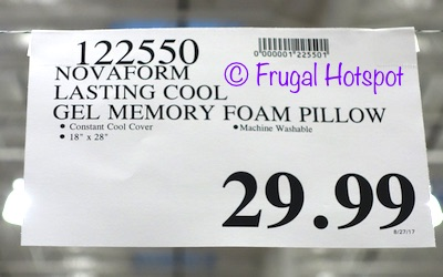 novaform lasting cool gel memory foam pillow. item #122550. this product was spotted at the covington, wa location. price and participation may vary so it not be available your local costco or novaform lasting cool gel memory foam pillow p