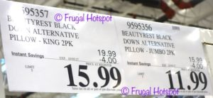 Costco Price: Beautyrest Black Down Alternative Pillows 2-Pack