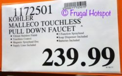 Costco Price: Kohler Malleco Touchless Pull Down Faucet
