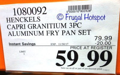 Costco Sale Henckels Capri Granitium 3 Pc Aluminum Fry