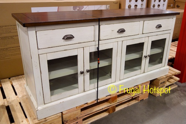 Hand Painted Antique White Finish Base, Natural Finish Top U2022  Full Extension, Ball Bearing Metal Drawer Guides U2022 Soft Closing Euro Style  Cabinet Hinges