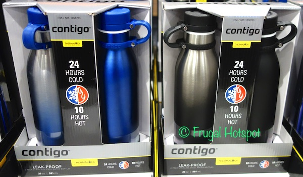 c0cf5fcc20 Thermalock Vacuum Insulation keeps beverages cold for 24 hours and hot for  10 hours. Costco has the Contigo Thermalock Water Bottle 2-Pack on sale for  $9.99 ...
