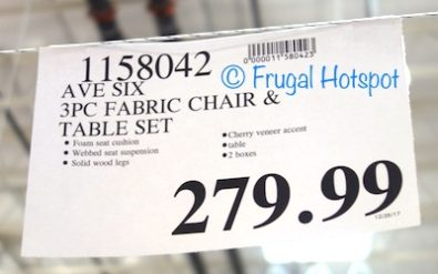 Costco Price: Avenue Six 3-Piece Fabric Chair + Table Set