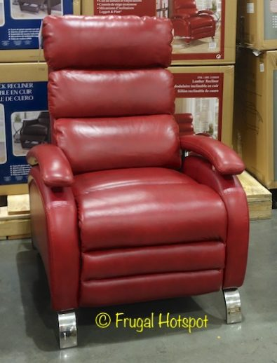 Barcalounger Red Leather Pushback Recliner at Costco