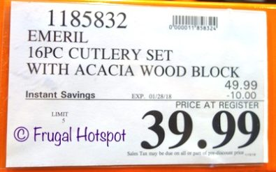 Costco Sale Price: Emeril Lagasse 16-Piece Cutlery Set with Wood Block
