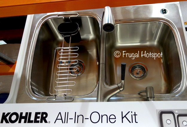 Costco sale kohler sink and faucet all in one kit 24999 frugal 18 gallon stainless steel sink malleco pull down kitchen faucet soaplotion dispenser 3 interchangeable silicone handles in black white and taupe workwithnaturefo