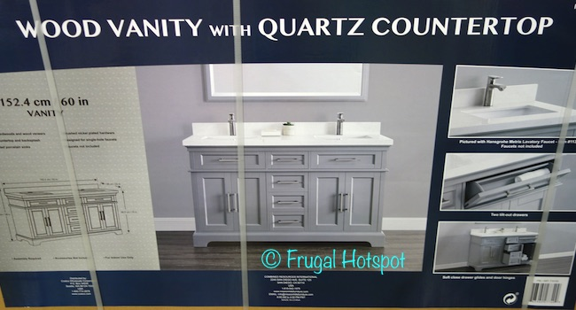 60 in double sink vanity. CSA rated porcelain sinks  Brushed nickel plated hardware Designed for single hole faucets Soft close drawer glides and door hinges Costco Mission Hills 60 Double Sink Vanity w Quartz Top 799 99