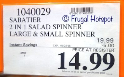 Costco Sale Price: Sabatier 2-in-1 Salad Spinner