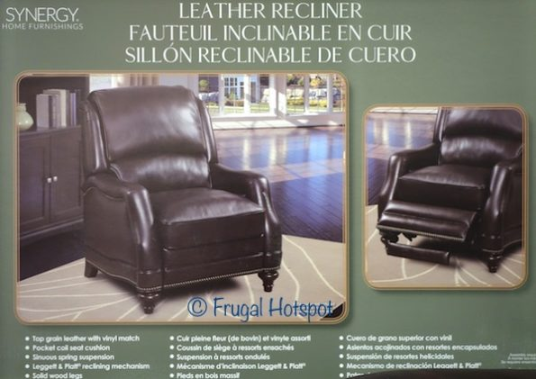 Synergy Home Furnishings Leather Recliner at Costco