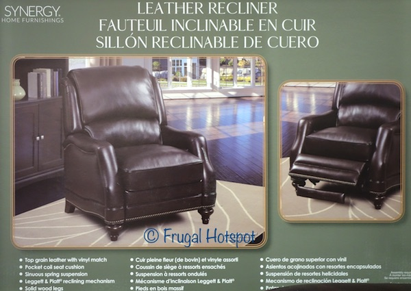 Costco Has The Synergy Home Furnishings Leather Recliner On For 399 99 After Instant Savings Now Through January 21 2018