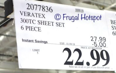 Costco Sale Price: Veratex Sheet Set 6-Piece Set