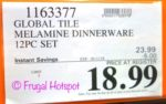 Costco Sale Price: Global Tile Melamine Dinnerware 12-Piece Set
