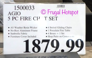 Costco price: Propane Holder from the Agio Cordova 5-Piece Fireplace Chat Set