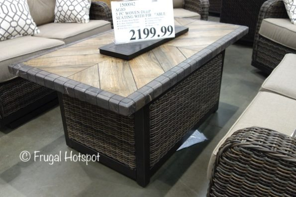 Agio Eastport 5-Piece Woven Seating Set with Fire Table at Costco