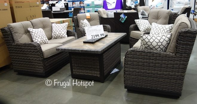Costco: Agio Eastport 5-Pc Woven Seating Set with Fire Table $2,199.99