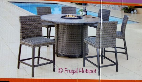 Agio Eastport 7-Piece High Dining Set with Fire Table at Costco