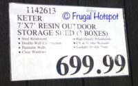 Costco Price: Keter 7' x 7' Resin Outdoor Storage Shed