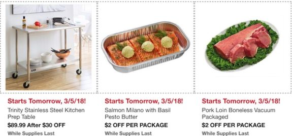 Costco In-Warehouse Hot Buys: Starts March 5, 2018: Trinity Stainless Steel Kitchen Prep Table, Salmon Milano with Basil Pesto Butter, Pork Loin Boneless Vacuum Packaged