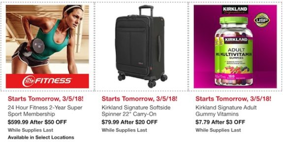 """Costco In-Warehouse Hot Buys: Starts March 5, 2018: 24 Hour Fitness 2-year Super Sport Membership, Kirkland Signature Softside Spinner 22"""" Carry-on, Kirkland Signature Adult Gummy Vitamins"""