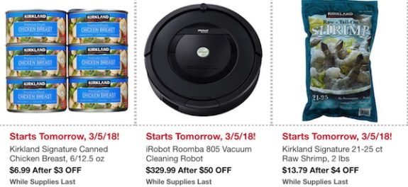 Costco In-Warehouse Hot Buys: Starts March 5, 2018: Kirkland Signature Canned Chicken Breast, iRobot Roomba 805 Vacuum Cleaning Robot, Kirkland Signature 21-25 ct Raw Shrimp 2 lbs