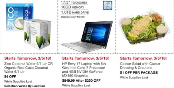 Costco In-Warehouse Hot Buys: Starts March 5, 2018: Zico Coconut Water, HP Envy 17 Laptop, Caesar Salad with Dressing and Croutons