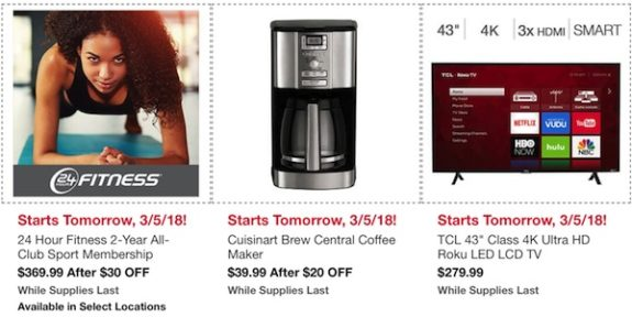 """Costco In-Warehouse Hot Buys: Starts March 5, 2018: 24 Hour Fitness 2-Year All Club Sport membership, Cuisinart Brew Central Coffee Maker, TCL 43"""" Class 4K Ultra HD Roku LED LCD TV"""