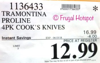 Costco Price:  Tramontina ProLine 4-Pack Cook's Knives