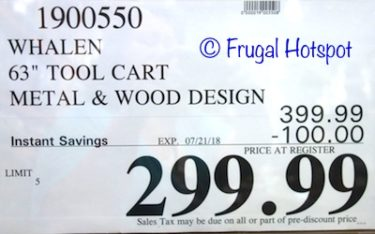 """Costco Sale Price: Whalen Industrial 63"""" Metal and Wood Tool Cabinet"""