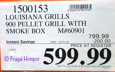 Costco Sale Price: Louisiana Grills 900 Pellet Grill with Smoke Box